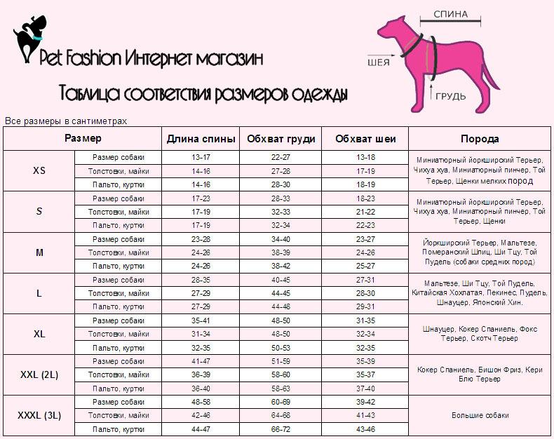 размер обуви для собак таблица